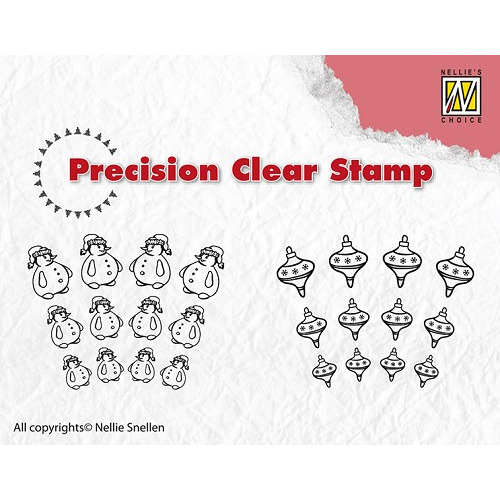 Precision clear stamps - Snowman-Christmas ball