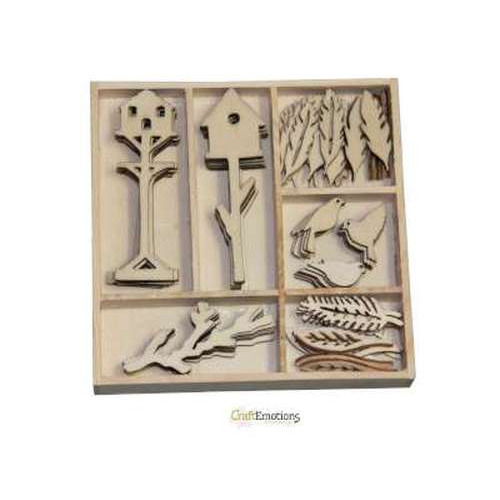 CraftEmotions Houten ornament Botanical Summer - vogel&huisje 55 pcs - box 10,5 x 10,5 cm