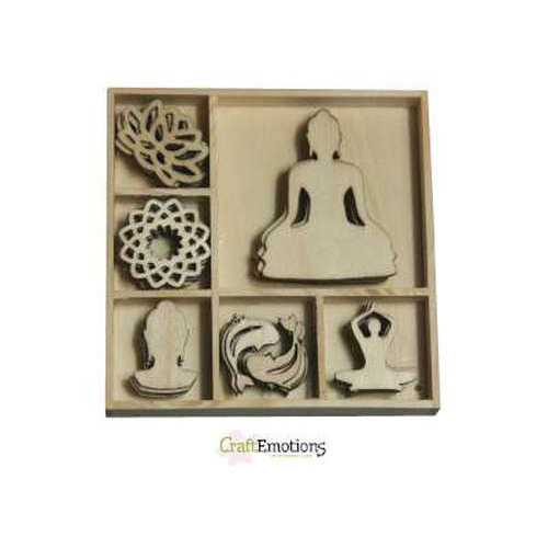CraftEmotions Houten ornament Happiness - Boeddha 35 pcs - box 10,5 x 10,5 cm