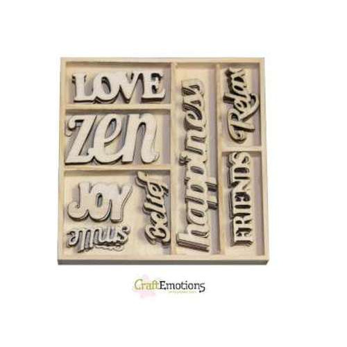 CraftEmotions Houten ornament Happiness - tekst Happiness 40 pcs - box 10,5 x 10,5 cm