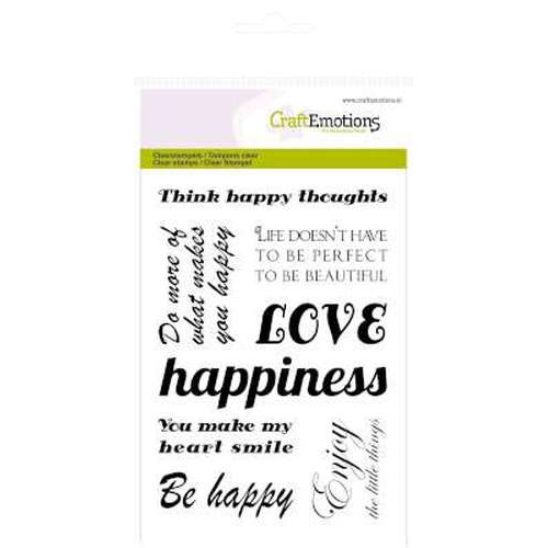 CraftEmotions clearstamps A6 - tekst 'happy' Happiness