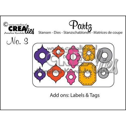 Crealies Partz no 3 Versiering labels & tags - Add ons CLPARTZ03