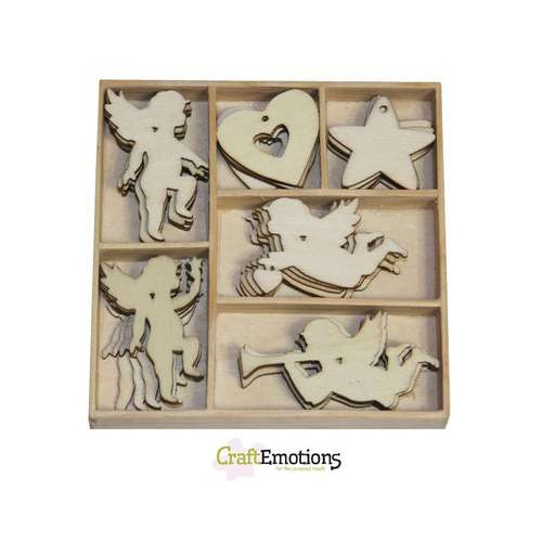 CraftEmotions Houten ornamenten Purple Holiday - Engeltjes 30 pcs - box 10,5 x 10,5 cm