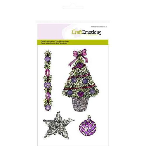 CraftEmotions clearstamps A6 - Kerstboom, ster Purple Holiday (NEW 08-2014)