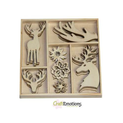 CraftEmotions Houten ornamenten doosje Winter Woods rendier 35 pcs - box 10,5 x 10,5 cm