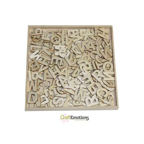 CraftEmotions Houten ornamenten - Alfabet basic klein 250 pcs - box 10,5 x 10,5 cm