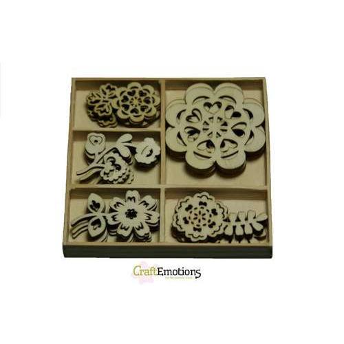 CraftEmotions Houten ornamenten doosje Folklore bloemen 25 pcs - box 10,5 x 10,5 cm
