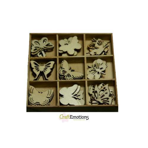 CraftEmotions Houten ornamenten doosje Botanical vlinders 45 pcs - box 10,5 x 10,5 cm