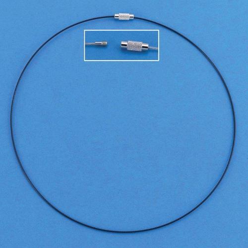 1 ST (1ST) Draad collier draaislot zwart 45 cm 3 ST