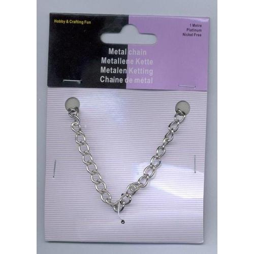 1 ST (1ST) Metalen ketting zilverkleur 5,5 mm 1 MT