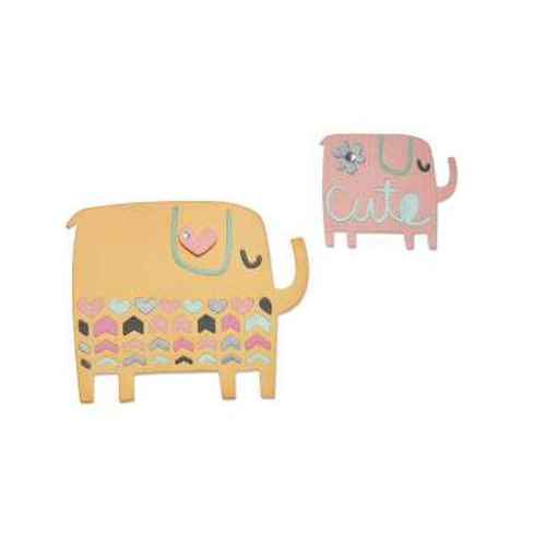 Sizzix Thinlits Die Set 4PK - Elephant Duo 660496 Craft Asylum ( 5-15 )