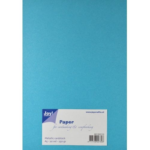 Joy Crafts Metallic cardstock papier A5 blauw - 8013/0110