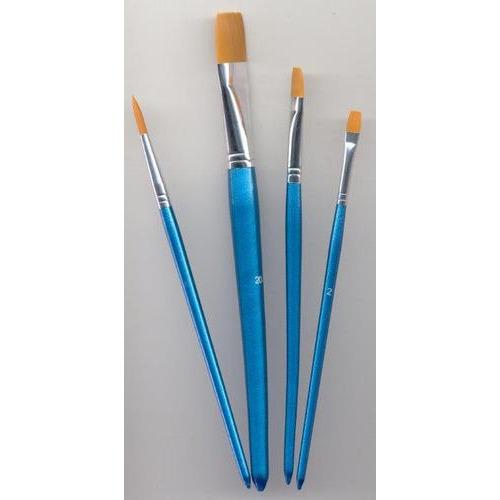 1 ST (1ST) Penselen set nylon 3x plat 1x rond 4 ST