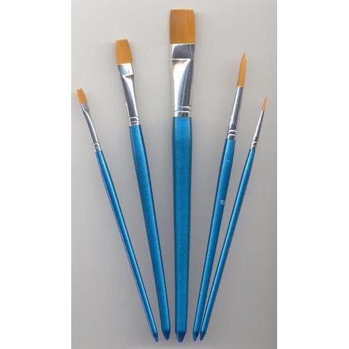 1 ST (1ST) Penselen set nylon 3x plat 2x rond 5 ST