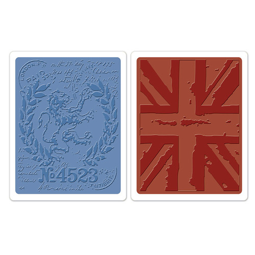 1 ST (2 ST)  Text.FadesEmb. Folders London Icons&Union Jack S 658578 Tim Holtz