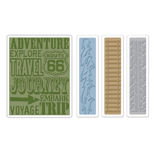1 ST (4 ST)  Text.FadesEmb. Folders Travel Signs Set 658579 Tim Holtz