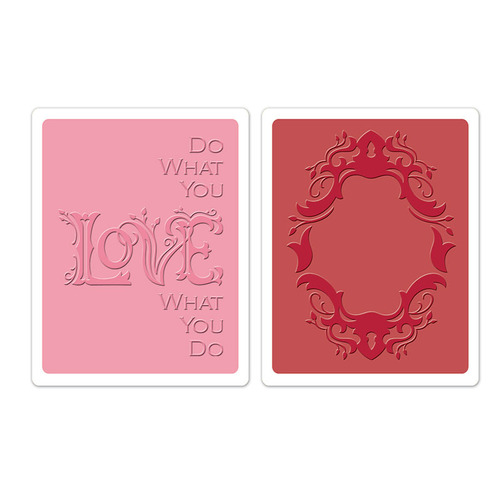 1 ST (2 ST)  Textured Impr. Emb. Folders Frame & Love 658484 Rachael Bright