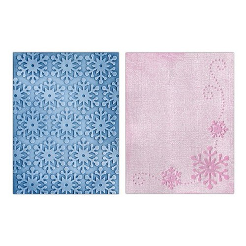 1 ST (2 ST)  Textured Impr. Emb. Folders Winter Snowflakes 658628 Paula Pascual
