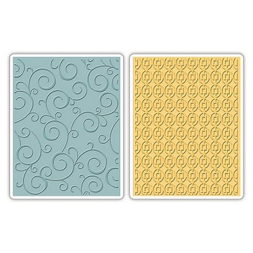1 ST (2 ST) Tex. Imp. Emb. Folders Swirls & Squares in Ovals 658847 Stephanie Barnard