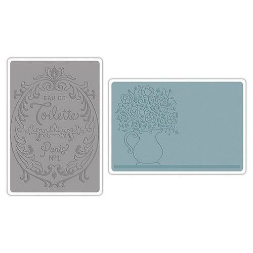 Sizzix Text.Impr.Emb.Folders Flowers&Perfume Label Set (2pcs) 658969 French Farmhouse