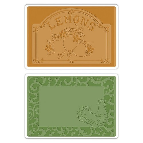 Sizzix Text.Impr.Emb.Folders Rooster Frame&Lemon Label (2pcs) 658970 French Farmhouse