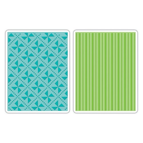 Sizzix Text.Impr.Emb.Folders (2pc) - Pinwheel & Stripes Set 658989 Eileen Hull (NEW 02-14)