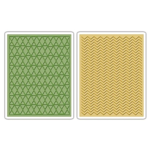 Sizzix Text.Fades Embossing Folders Chevron&Lattice Set (2pc) 659448 Tim Holtz (NEW 03-14)