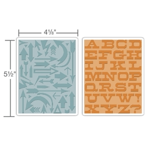 Sizzix  Tekst. Fades Emb. Folders - Arrows & Boardwalk Set 659489 Tim Holtz ( NEW 05-14 )