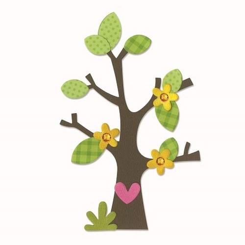 Sizzix Bigz Die - Tree w/Flower, Heart & Leaves 660404 Doodlebug design ( 4-15 )