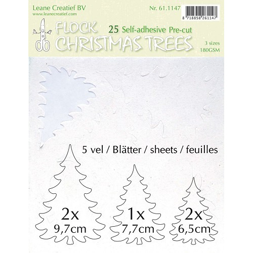 25 pre-cut & self-adhesive christmas trees white