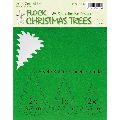 25 pre-cut & self-adhesive christmas trees green