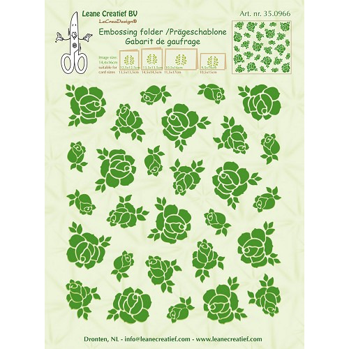 Embossing folder background Roses 14.4x16cm