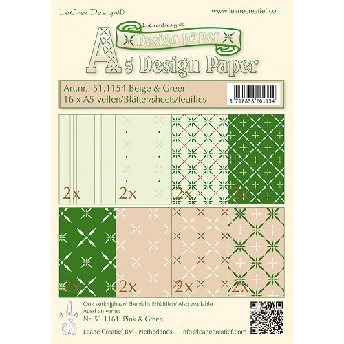 Design papier assortiment  beige/green 16xA5