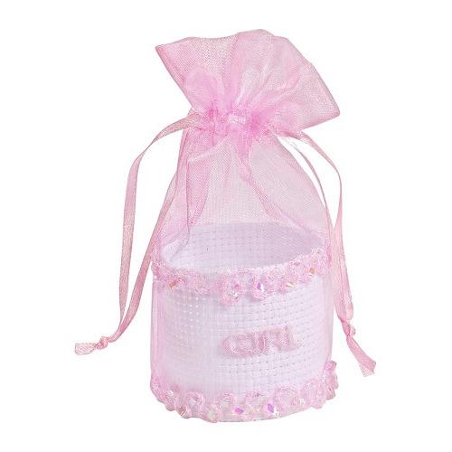 Baby-Geschenkkorfje, roze, 5 x 10 cm, buidel met 3 st