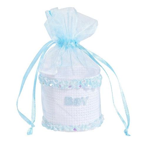 Baby-Geschenkkorfje, blauw, 5 x 10 cm, buidel met 3 st