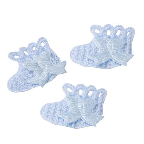 Gebreide schoentjes, ca. 3,5 x 3,5 cm, blauw, box met 10 st