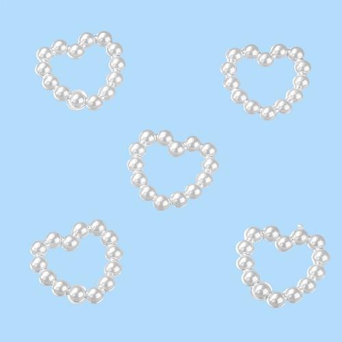 CREApop® Kralenhart, doorgebroken, 10 mm, wit, buidel met 20 st