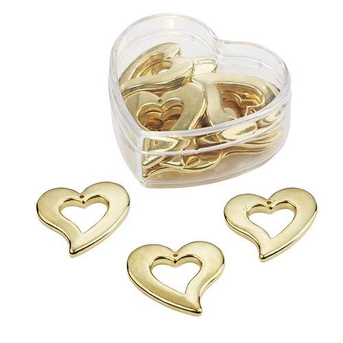 Strooidelen, goud, 3 cm, hartbox met 12 st
