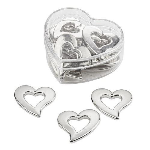 Strooidelen, zilver, 3 cm, hartbox met 12 st
