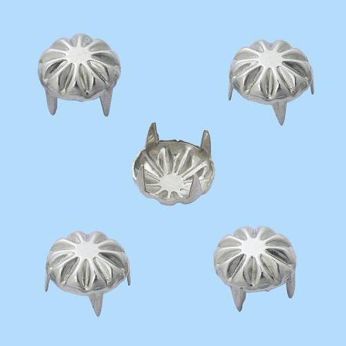 Decoratieve brads VI 9 mm, buidel met 20 st,zink, nikkelvrij, zilver
