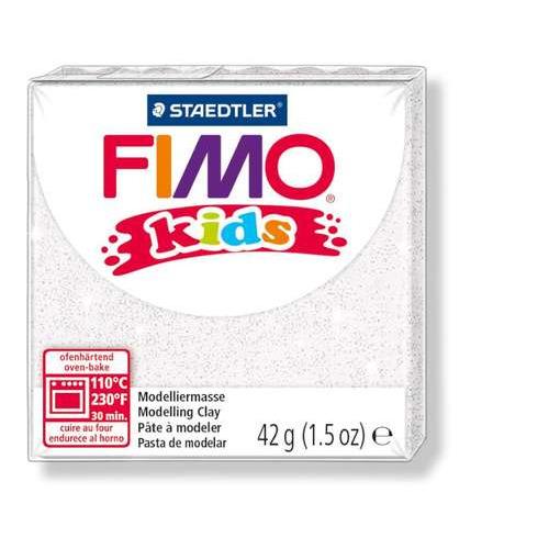 Fimo kids boetseerklei 42g glitter wit