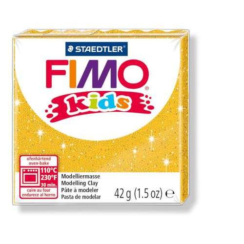 Fimo kids boetseerklei 42g glitter goud