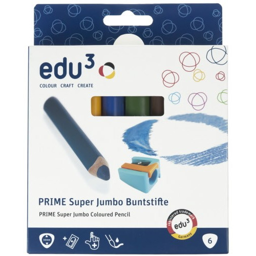 PRIME Super Jumbo col. Pencils, cardboard box 6 ass. + sharpener
