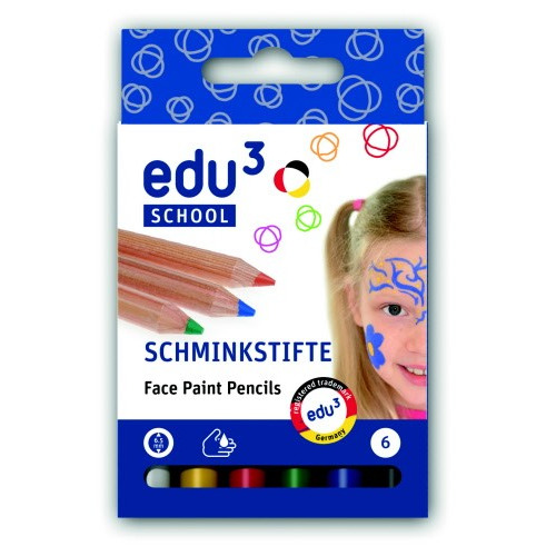 EDU Face Paint Pencils, cardboard box 6 basic colours ass.