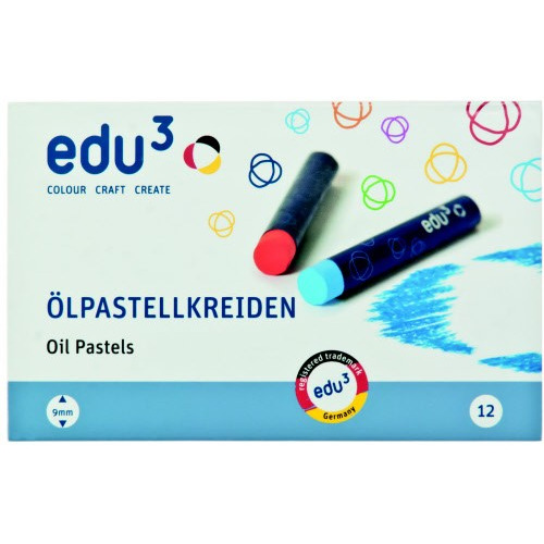 EDU³ Jumbo Oil Pastel, 12cols, Card Box