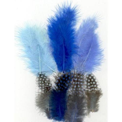 1 ST (1ST) Veren Marabou&Guinea mix blauw 18 ST
