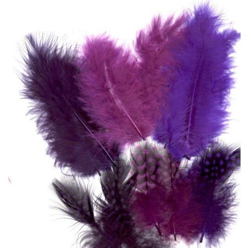 1 ST (1ST) Veren Marabou&Guinea mix paars 18 ST
