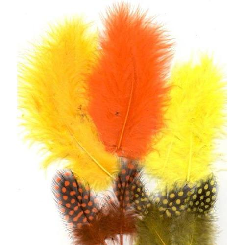 1 ST (1ST) Veren Marabou&Guinea mix oranje geel 18 ST