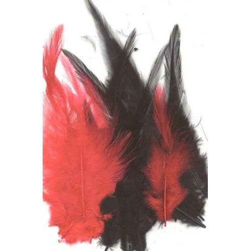 1 ST (1ST) Veren gala rood zwart mix 9-15 cm 15 ST