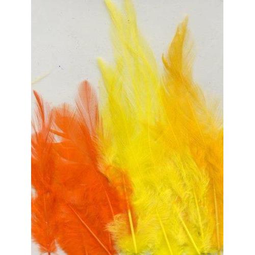 1 ST (1ST) Veren geel oranje mix 9-15 cm 15 ST